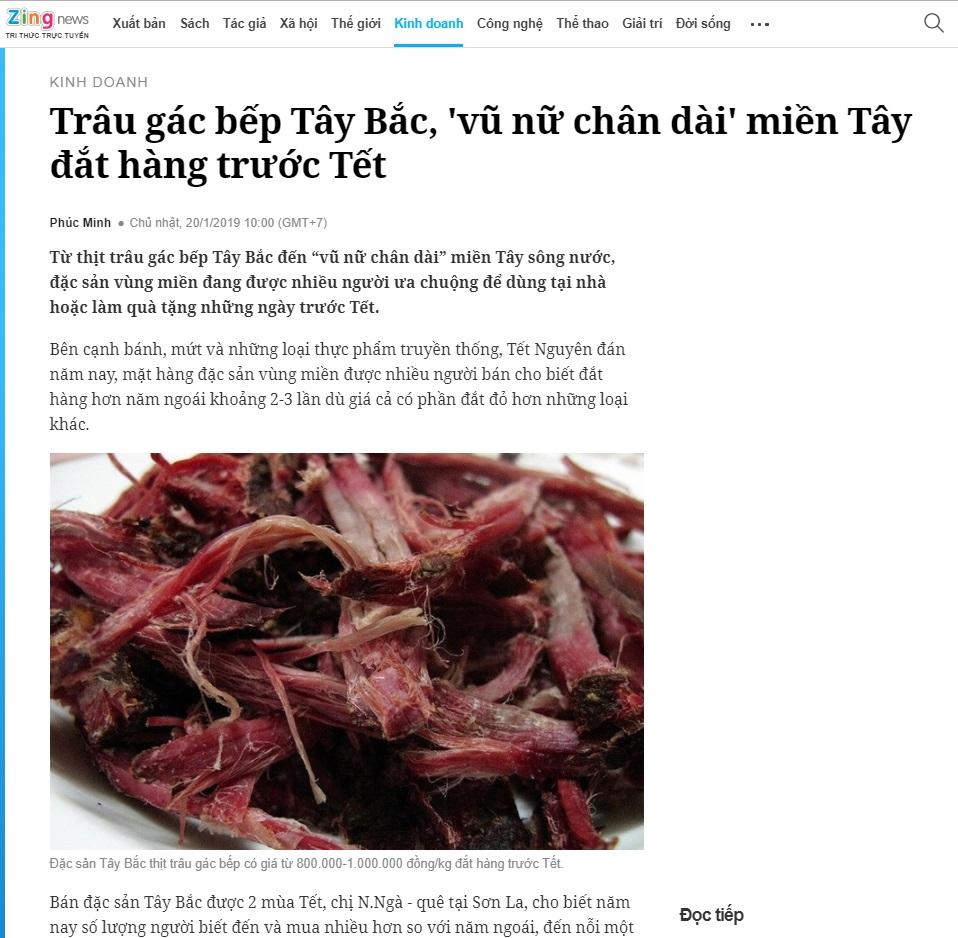 """Báo Zing nói thịt trâu gác bếp như """"vũ nữ chân dài"""" - xem bài viết tại đây"""