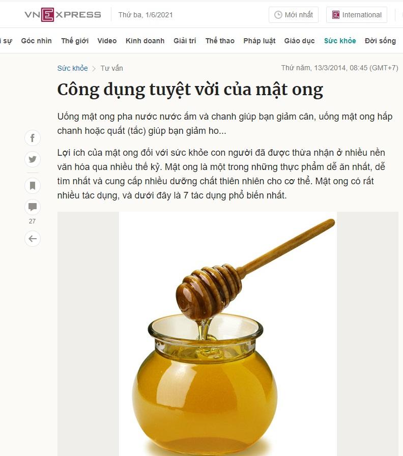 Báo Vnezpress nói về tác dụng của mật ong