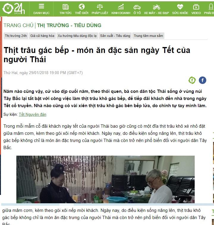 Báo 24h nói thịt trâu gác bếp là 1 đặc sản không thể thiếu trong tết của người Thái - xem bài viết tại đây
