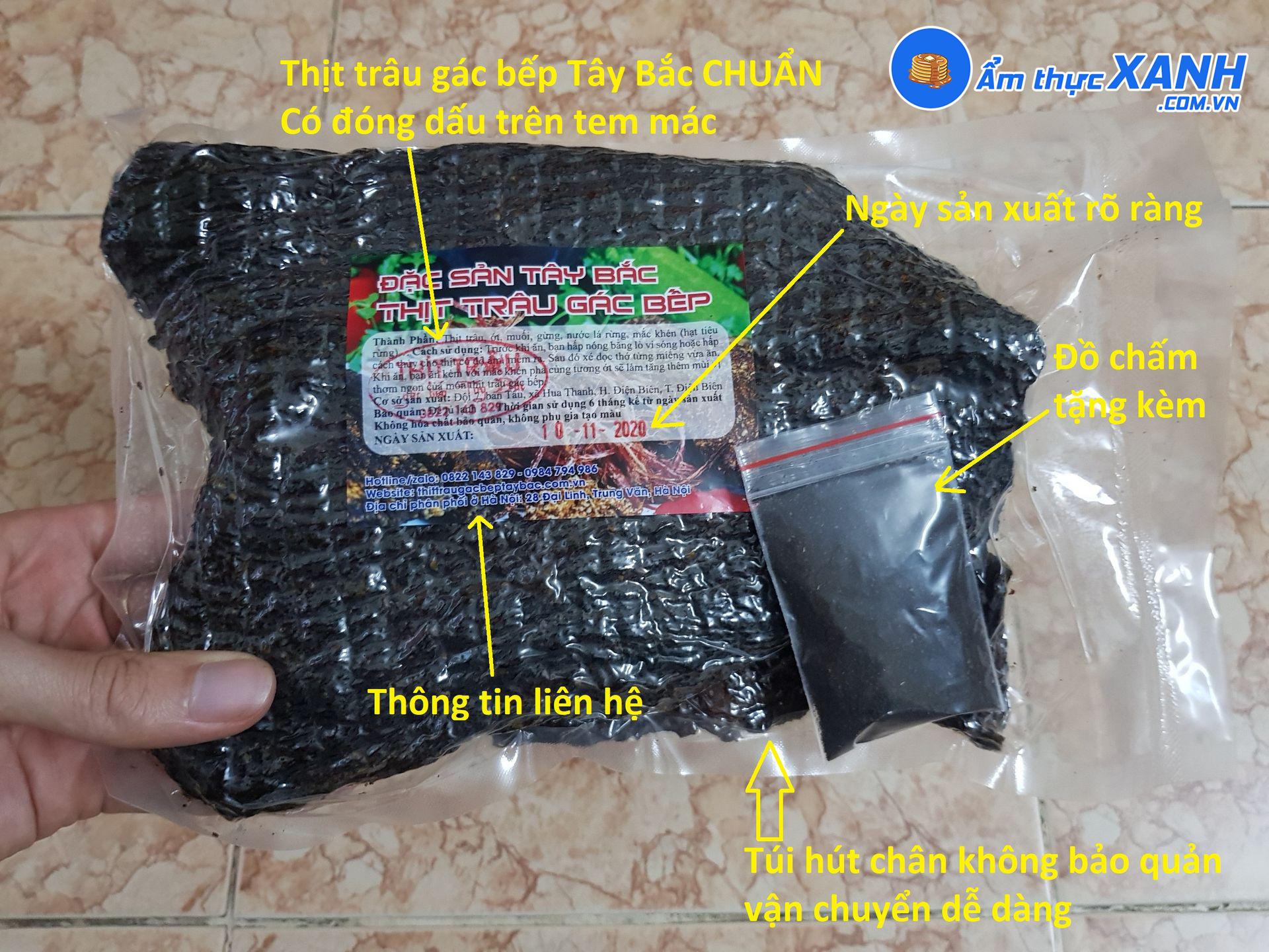 Túi thịt trâu gác bếp có tem ghi rõ nguồn gốc và hạn dùng của sản phẩm