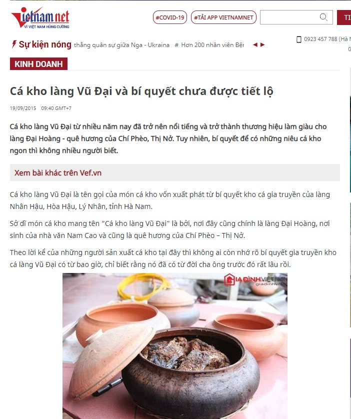 Báo Vietnamnet nói về sản phẩm Cá Kho Làng Vũ Đại - xem tại đây