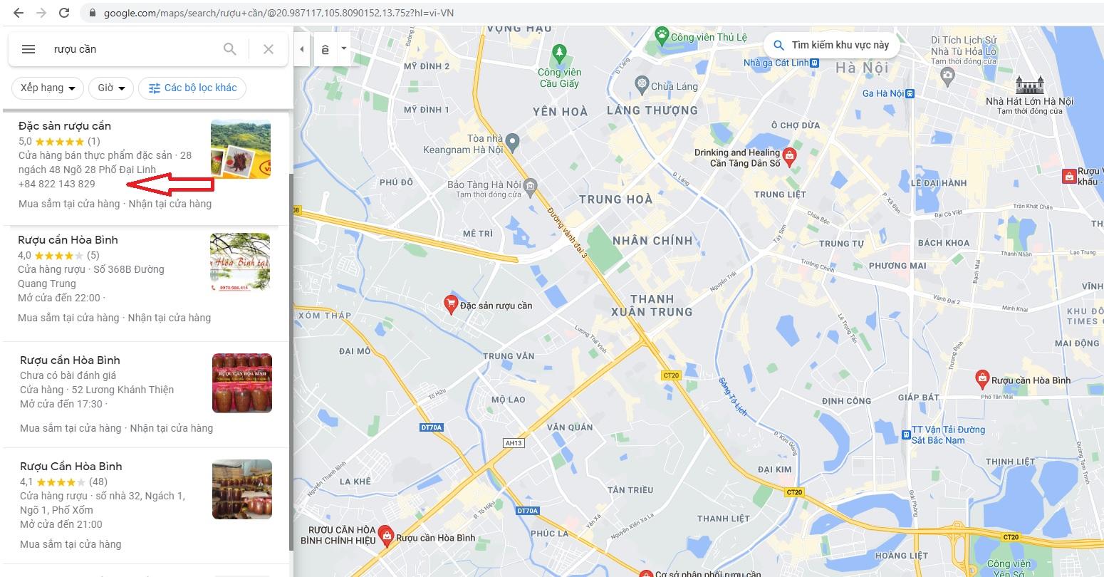 Địa chỉ mua rượu cần hà nội ở google map