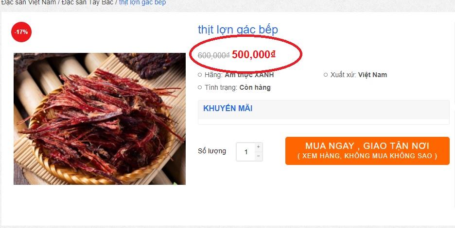Giá bán của thịt lợn gác bếp