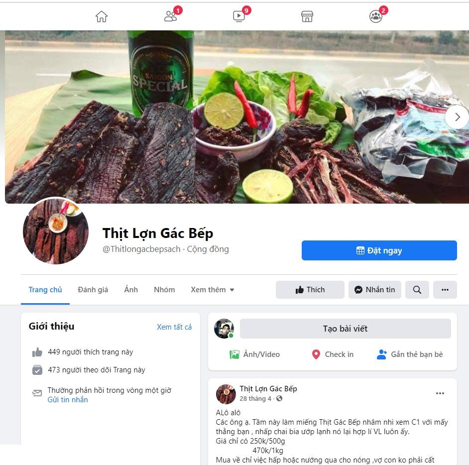 Bạn có thể mua thịt lợn gác bếp trên facebook