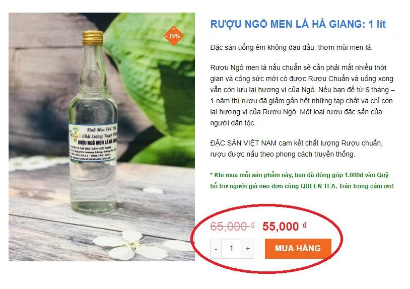 Giá bán của rượu ngô