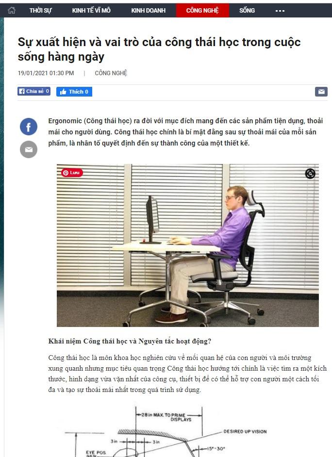 Báo Cafebiz nói về ghế ergonomic - xem chi tiết tại đây