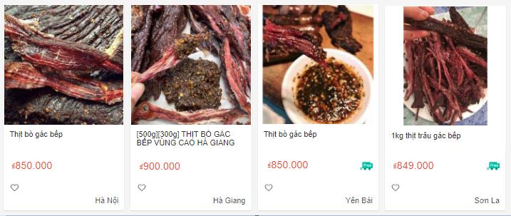 Giá bán của 1kg thịt bò gác bếp