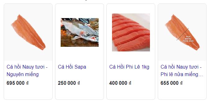 Giá bán của cá hồi