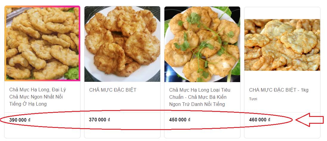 Giá bán của chả mực