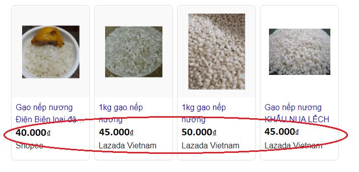 Giá bán của gạo nếp nương