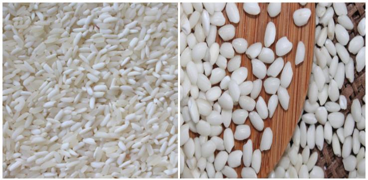 Gạo nếp nương (bên trái) Gạo nếp thường (bên phải)